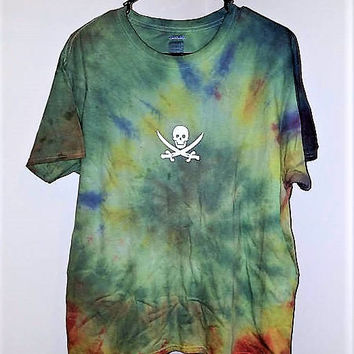 Skull Tie Dye Shirt, Festival Shirt, Tie Dye Tee, Swimsuit Cover, Unisex Clothing, Psychedelic Shirt, Easter Outfit, Easter Basket Filler