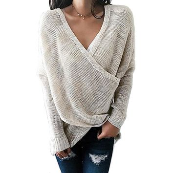 New Autumn Women Simple Casual V-Neck Front Cross Weekend Sweater Long Sleeve Knitting Solid color Pulloversr dopshipping