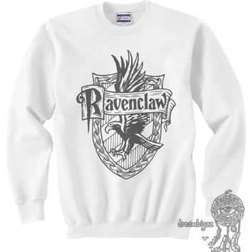 Ravenclaw Crest #2 One color printed on Light Steel and White Crew neck Sweatshirt