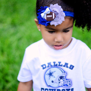 Dallas Cowboys Headband, Cowboys Baby Heaband, Dallas Cowboys Girls Headband Cowboys Hairbows Blue Gray Silver Shabby Headband Football Bow