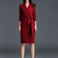 Wine Red V-Neck Half Sleeve Wrap Bodycon Midi Dress