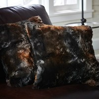 FAUX FUR PILLOW COVER - BROWN BEAR
