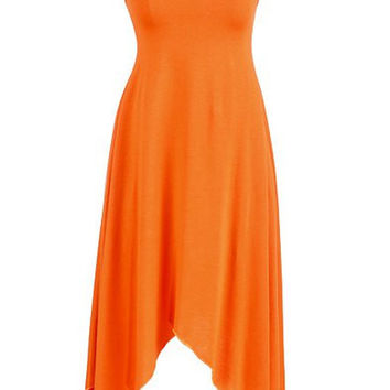 Orange Sleeveless Asymmetrical Dress