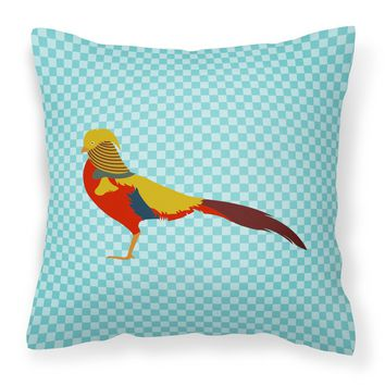 Golden or Chinese Pheasant Blue Check Fabric Decorative Pillow BB8102PW1414