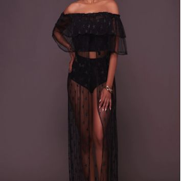 Lace Split Front Maternity Cover Up Gown CCO50