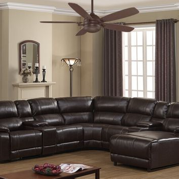 7 pc Colton collection brown bonded leather upholstered sectional sofa with power recliners