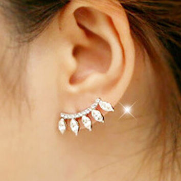 Women Ear Stud Earrings Silver Plated Crystal Rhinestone Jewelry + Gift Box