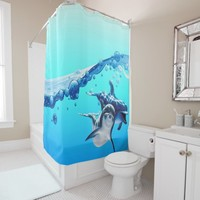 dolphins with wave shower curtain