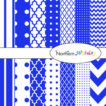 Digital Scrapbooking Paper Pack – Royal Blue paper in stripes, chevron, polka dot, and quatrefoil – instant download – CU OK
