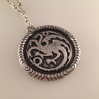 Game of Thrones, Winter is Coming Pendant, Gothic Necklace, Daenerys Targaryen, Dragon Necklace