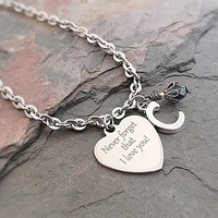 Stainless Steel Bracelet - Initial Jewelry - Never Forget - I Love You - Valentines Day - Husband to Wife - Long Distance Relationship