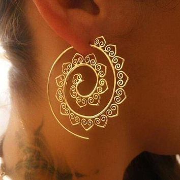 ONETOW VAROLEV Ornate Swirl Hoop Gypsy Indian Tribal Ethnic Earrings Boho Earrings for Women Jewelry 4198