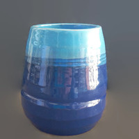 Ceramic Pot - Blue decorative vase for dry plants- Small  pottery jar made with tradicional portuguese red clay molded on potter's wheel.