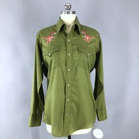 Vintage 1960s Embroidered Western Shirt / Army Green T-REX Dinosaurs