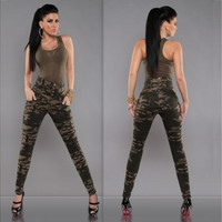 2016 New fashion women Camouflage Pants High waist slim sexy Trousers Pantalon femmes [8270414145]