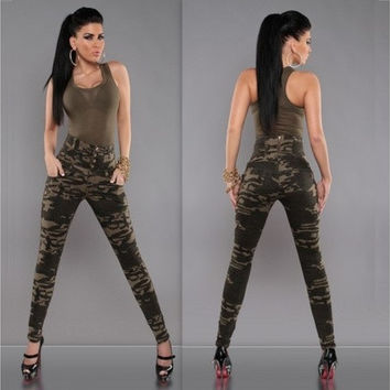 2016 New fashion women Camouflage Pants High waist slim sexy Trousers Pantalon femmes [9305912007]