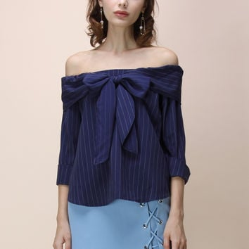Miraculous Stripe Off-shoulder Top in Navy