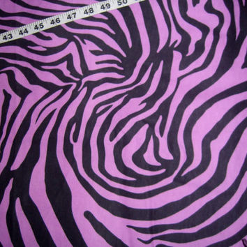 Tiger flannel fabric zebra stripes black on purple cotton quilting sewing material by the yard 1yd BTY