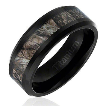 8MM Comfort Fit Titanium Hunting Ring Black Plated Wedding Band with Camouflage Inlay Beveled Edges | FREE ENGRAVING