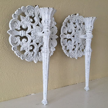 Vintage Homco Wall Candles Sconces Distressed White