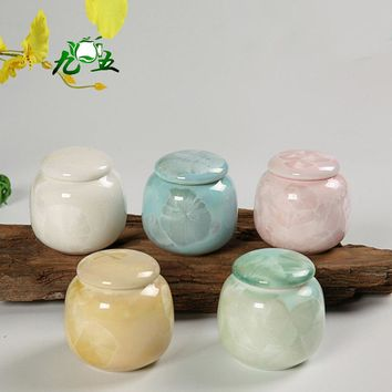 Colorful Elegant  Mini Porcelain Airtight Matcha 30g Tea Caddy Pills medicine Powder Storage Keep Clean and Fresh Tea Accessory