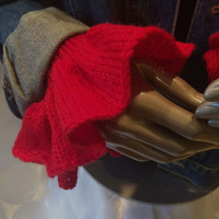 Djfleesh Big Hand Patience Cuffs Free US Shipping in the US - Flouncy Red Girly Glam Wrist Warmer