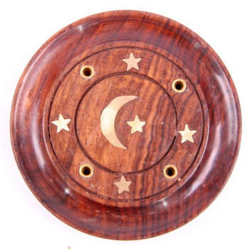 Sheesham Wood Round Ash Catcher - Moon & Stars Inlay