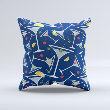 Blue Martini Drinks With Lemons Ink-Fuzed Decorative Throw Pillow
