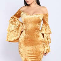 Emerald By Night Dress - Gold