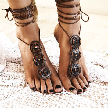 "Women barefoot sandal ""Athena"", foot jewellery, soleless sandals, ankle jewellery, beach jewellery"