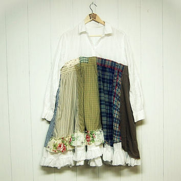 XL Lagenlook Mori Girl Dress, Romantic Shabby Chic Dres, Upcycled Clothing, Eco Friendly Handmade Clothing