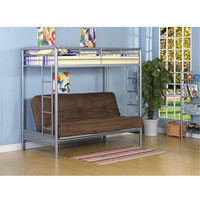 DHP Silver Twin Over Futon Bunk Bed