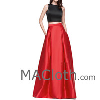 Two Piece Red Black Satin Long Prom Dress Formal Gown