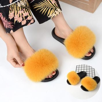 FXFURS 2019 Fashion Women Fox Fur Slippers Summer Furry Fur Flips Flops Beach Scandals Outdoor Fair Slides Vogue Plush Shoes