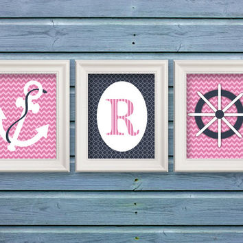 "Nursery Art Prints | Girls Nautical Theme Pink and Blue / Initial set of 3 8x10"" Prints - wall art - girls nursery bedroom (120/121/122)"
