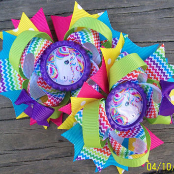 Lisa Frank Rainbow Horse Inspired Set of 2 Piggy Tails 4 Inch Bows / Birthday Bows
