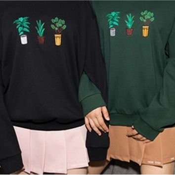 Preppy Chic Potted Plant Embroidery Pullover Sweatshirt Women Casual Slim Fleece = 1946123268
