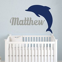 Wall Decals Personalized Name Dolphin Vinyl Sticker Decal Custom Name Girls Boys Initial Monogram Children Baby Decor Nursery Kids Room Bedroom Art NS192