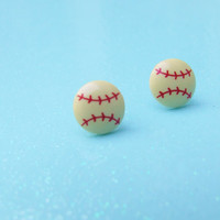 Baseball Softball Stud Earrings- Baseball Player - Softball Player - Sporty Sport - Plastic Jewelry - Hypoallergenic Nickel Free