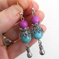 Bohemian drop earrings, turquoise and pink agate dangle earrings,  Gypsy turquoise jewelry