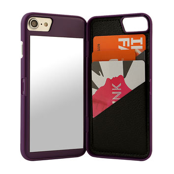 IPHONE MIRROR & WALLET CASE PURPLE