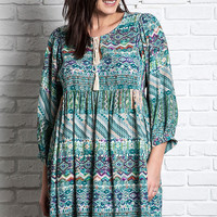 Printed Baby Doll Dress - Green Mix - Curvy