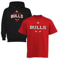adidas Chicago Bulls Youth Hoodie & T-Shirt Combo Set - Red/Black