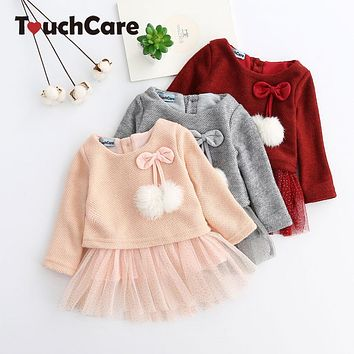 TouchCare Baby Dress Girls Fur Ball Mesh Princess Dresses Infant Knitting Bow Clothes Long Sleeve Newborn Robe Vestido Infantil