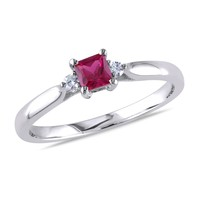 0.04 CT  Diamond TW And 1/3 CT TGW Created Ruby Fashion Ring  Silver GH I2;I3
