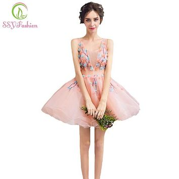 SSYFashion 2017 New Sweet Pink Lace Flower Cocktail Dress Young Girl Banquet Mini Party Gowns Sexy V-neck Short Formal Dresses