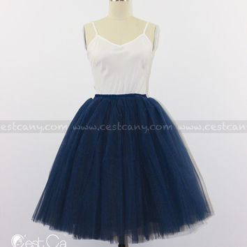 Ciara Navy Blue Tulle Skirt, 7-Layers Puffy Tutu, Dark Blue Swiss Tulle Princess Tutu, Knee Length Midi Tutu
