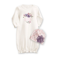 Personalized Newborn Girl Take Home Outfit, Ivory Vintage Pink Purple Floral Set, Newborn Baby Girl Take Home Outfit Gift, Tesa Babe