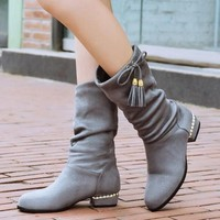 Grey Round Toe Tassel Slip-On Mid-Calf Casual Boots