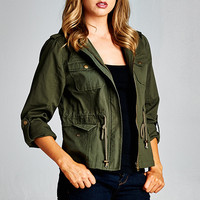 Olive Green Utility Zip Up Hooded Jacket